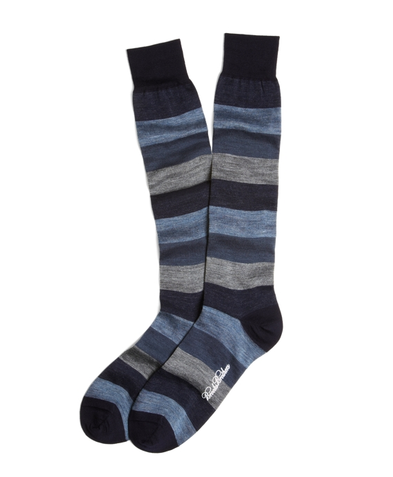 Chunky Stripe Over-the-Calf Socks Blue-Grey