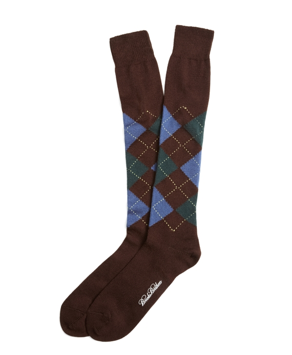 Argyle Over-the-Calf Socks Brown
