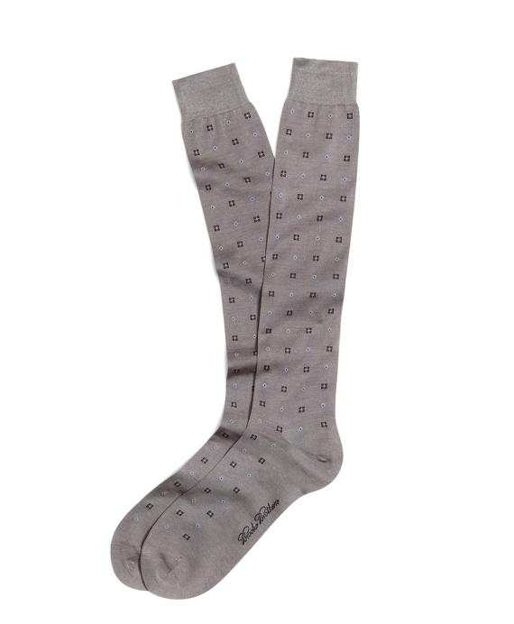 Alternating Square and Diamond Over-the-Calf Socks Grey