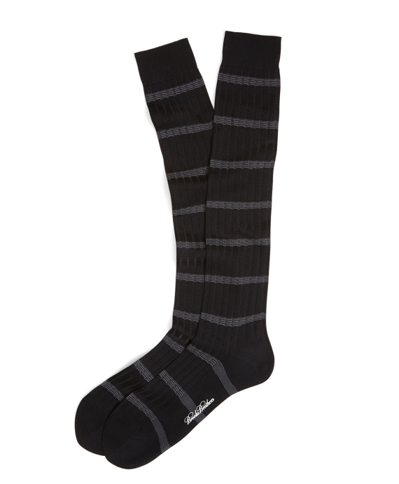 Ribbed Stripe Over-the-Calf Socks Black-Grey