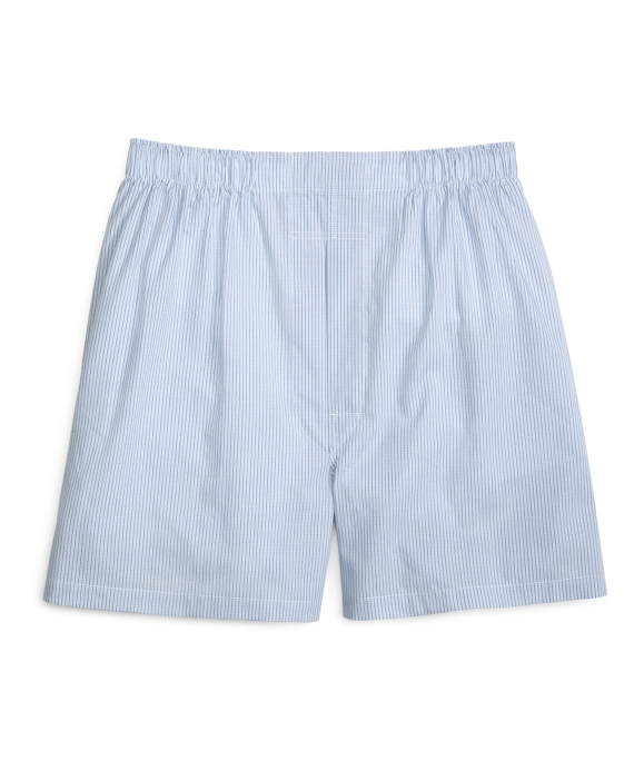 Traditional Fit Mini Tattersall Boxers Light Blue