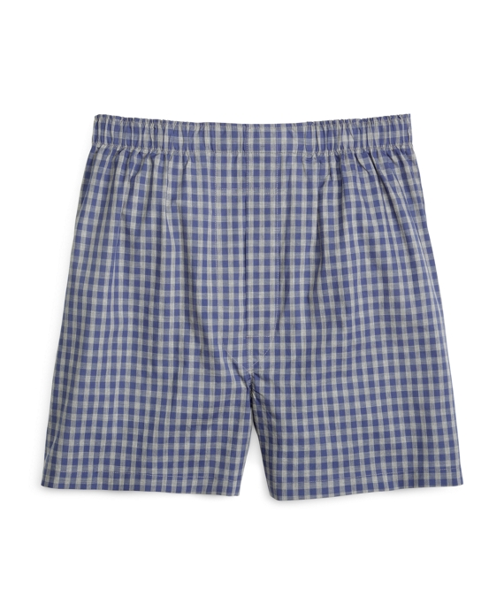 Slim Fit Heathered Gingham Boxers Blue