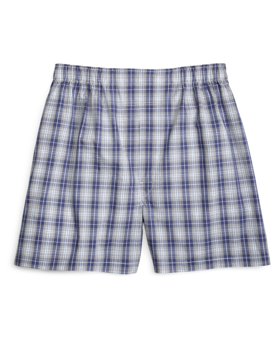 Traditional Fit Heathered Plaid Boxers Blue