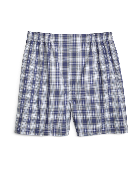 Slim Fit Heathered Plaid Boxers Blue