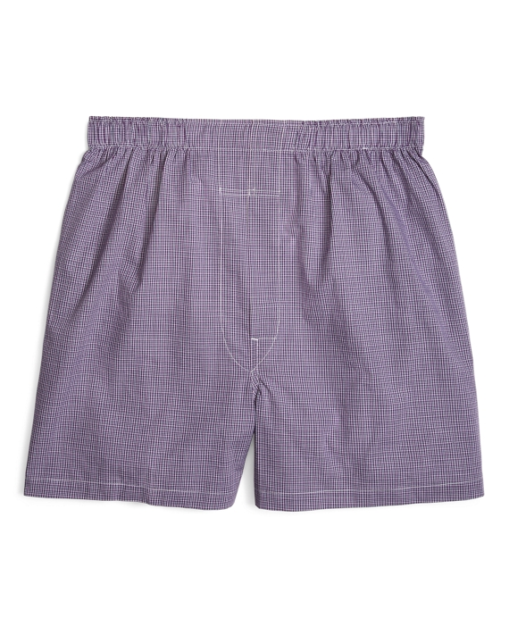 Traditional Fit Ground Check Boxers Purple