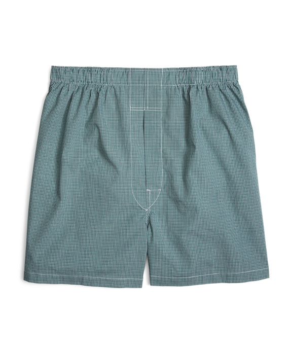 Slim Fit Ground Check Boxers Green