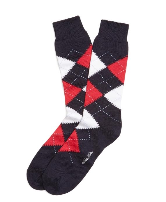 Argyle Crew Socks Navy