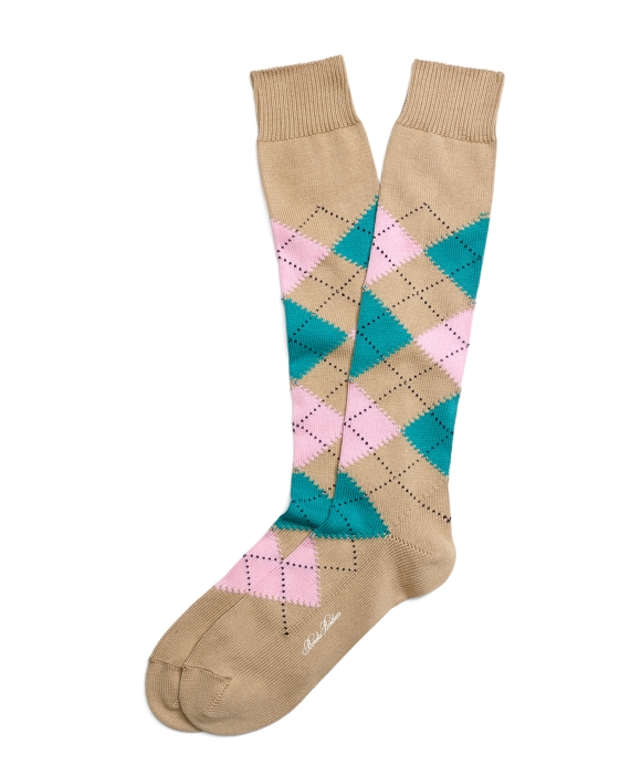Argyle Over-the-Calf Socks Khaki
