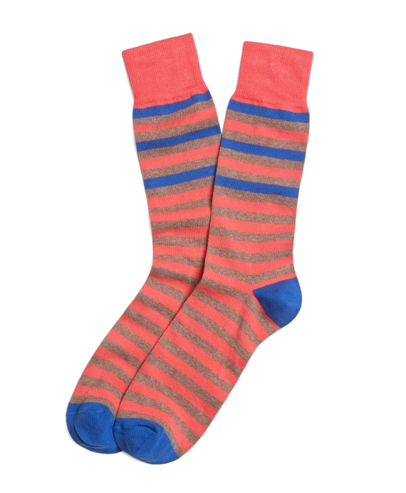 Alternating Stripe Crew Socks Khaki-Coral