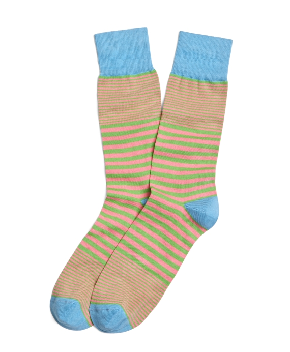 Variegated Stripe Crew Socks Green-Pink