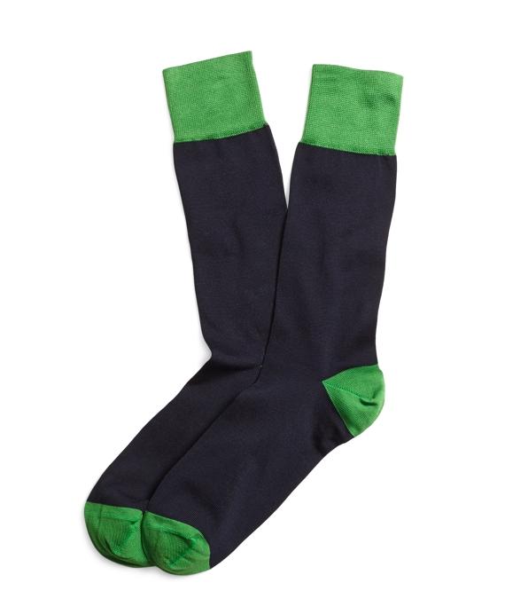 Two-Toned Crew Socks Navy