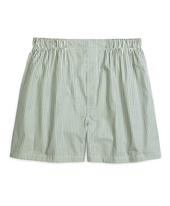 Traditional Fit Bengal Stripe Boxers Green