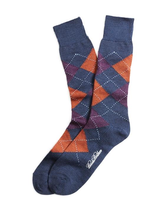 Stretch Merino Argyle Crew Socks Blue