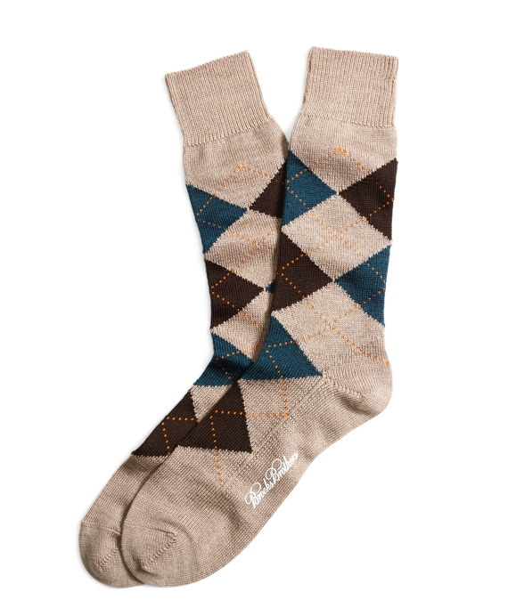 Stretch Merino Argyle Crew Socks Khaki