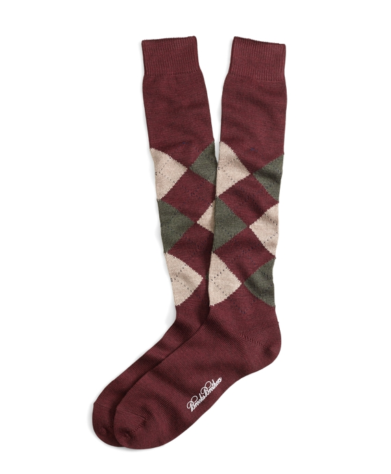 Stretch Merino Argyle Over-the-Calf Socks Burgundy