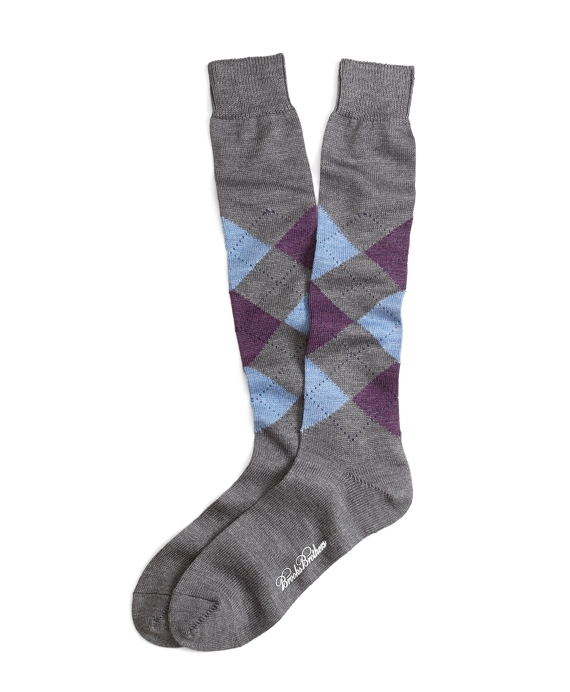 Stretch Merino Argyle Over-the-Calf Socks Grey