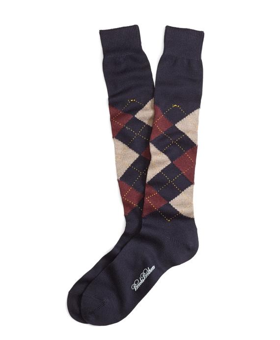 Stretch Merino Argyle Over-the-Calf Socks Navy