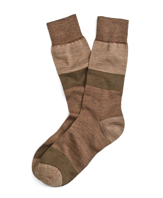 Stretch Merino Block Stripe Crew Socks Brown