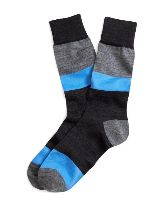 Stretch Merino Block Stripe Crew Socks Grey