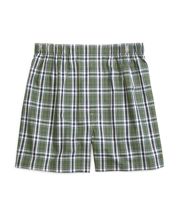 Slim Fit Large Plaid Boxers Green