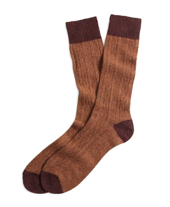 Donegal Tweed Cable Socks Brown-Burgundy