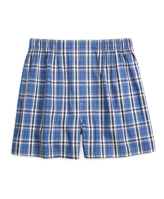 Traditional Fit Large Plaid Stripe Boxers Blue