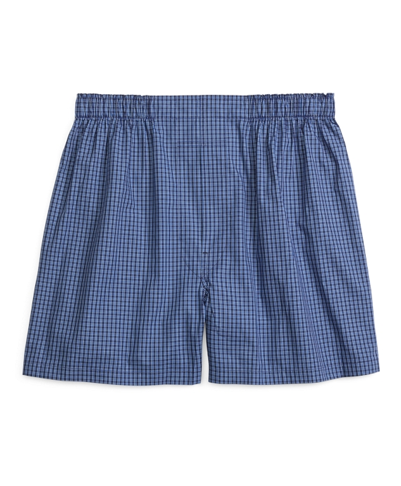 Traditional Fit Stripe Check Boxers Blue