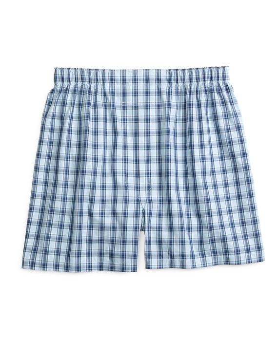 Traditional Fit Framed Check Boxers Blue