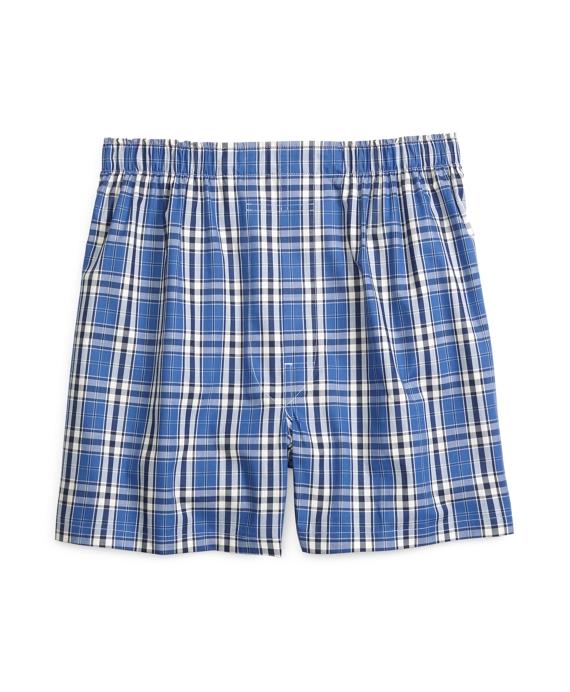Slim Fit Large Plaid Boxers Blue
