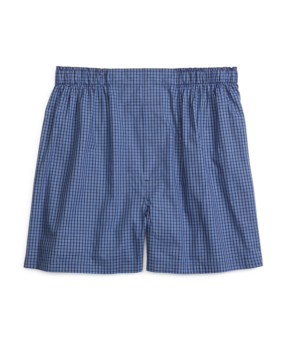 Slim Fit Stripe Check Boxers Blue
