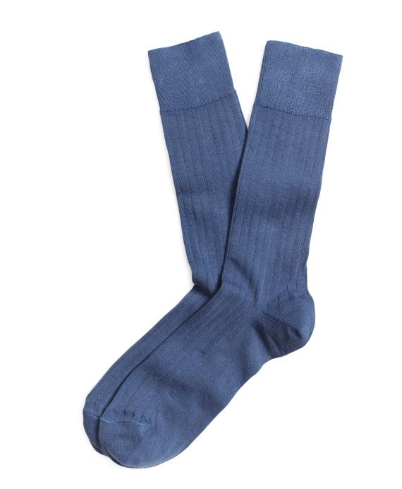 Ribbed Crew Socks Blue