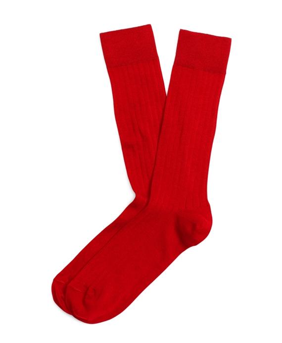 Ribbed Crew Socks Red