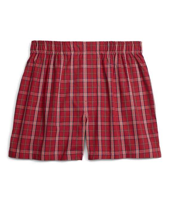 Traditional Fit Signature Tartan Boxers Burgundy