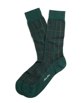 Multi Windowpane Crew Socks