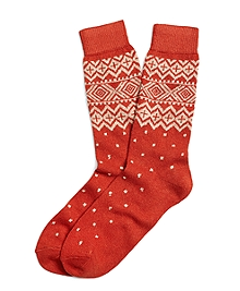 Geometric Fair Isle Crew Socks