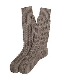 Cashmere Cable Crew Socks