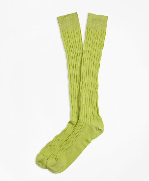 Cable Over-the-Calf Socks Lime Green