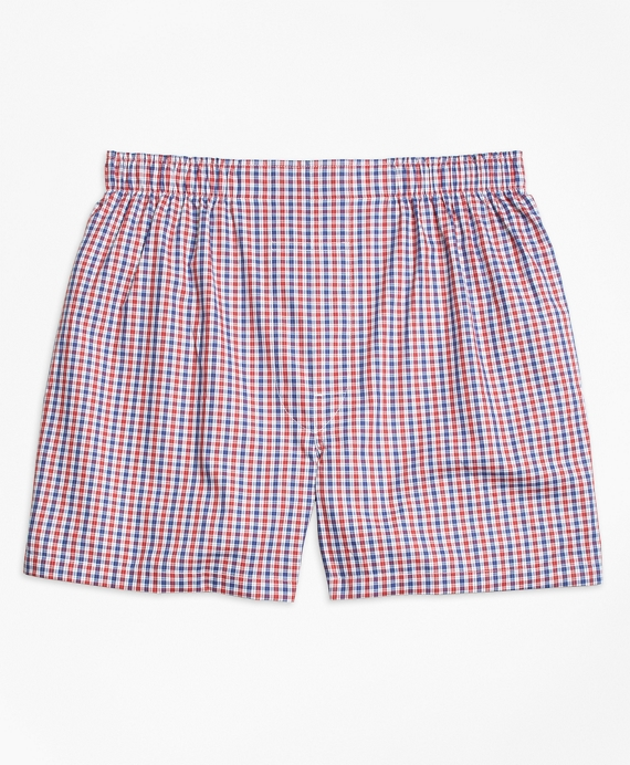 Traditional Fit Micro Check Boxers Red