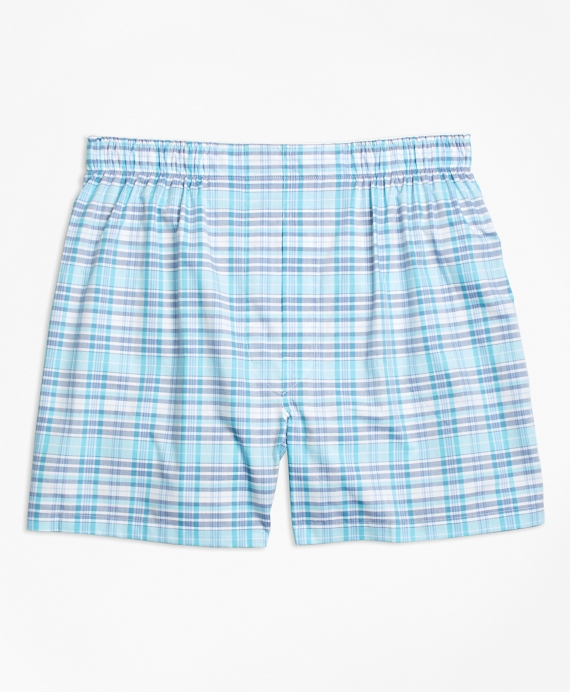 Traditional Fit Tonal Check Boxers Blue