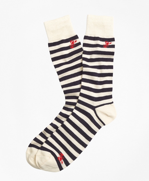 Thin Stripe with Lobster Motif Crew Socks
