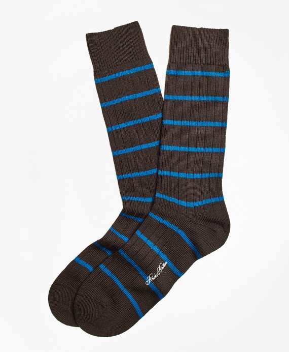 Merino Wool Stripe Crew Socks