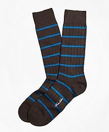 Merino Wool Stripe Crew Socks