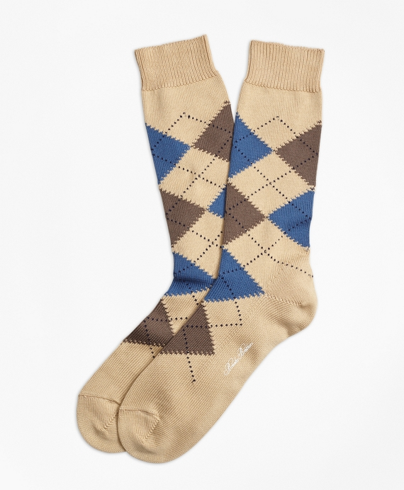 Cotton Argyle Crew Socks Khaki