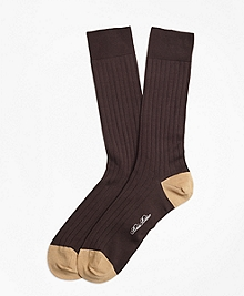 Contrast Toe and Heel Ribbed Crew Socks