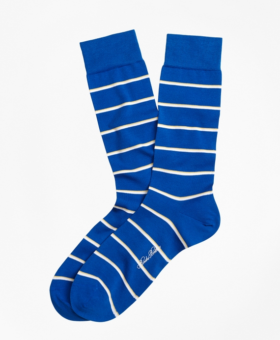 Two-Color Stripe Crew Socks Blue