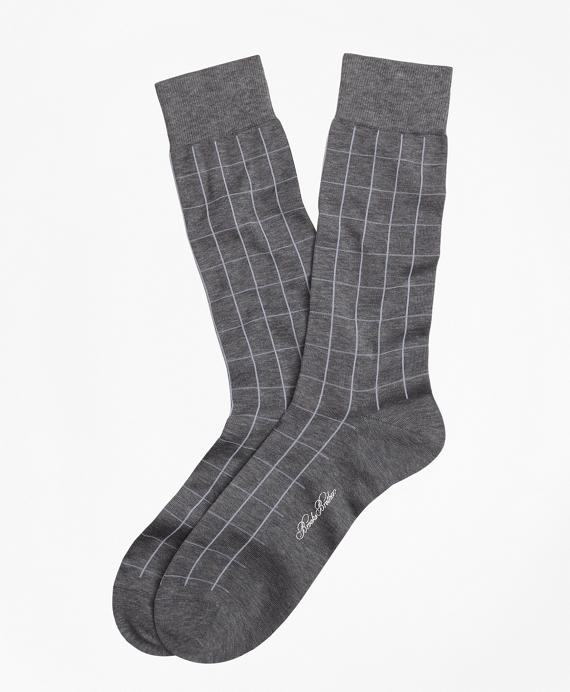 Windowpane Crew Socks Grey