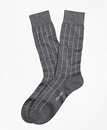 Windowpane Crew Socks