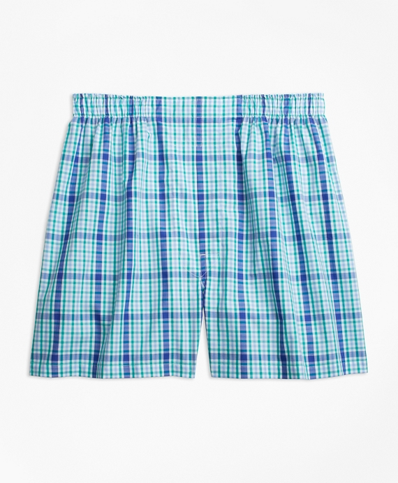 Traditional Fit Large Overcheck Boxers Blue-Green