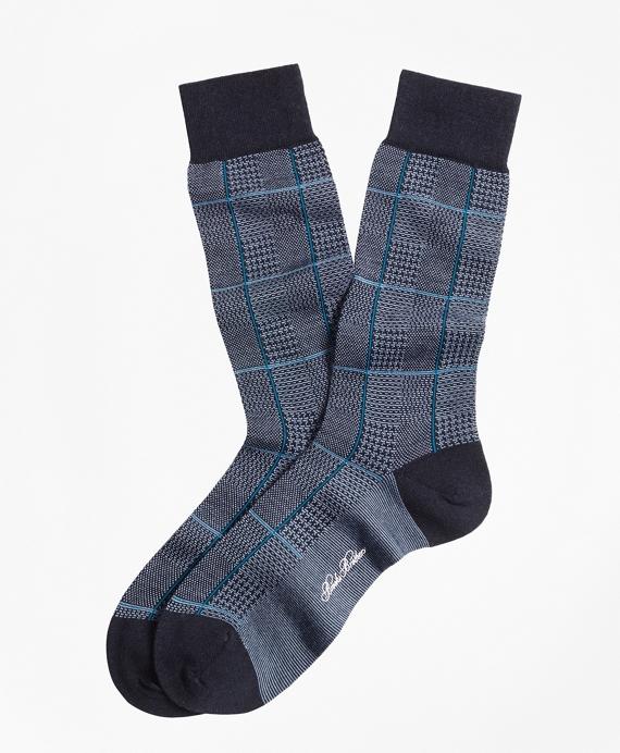 Glen Plaid Crew Socks Blue