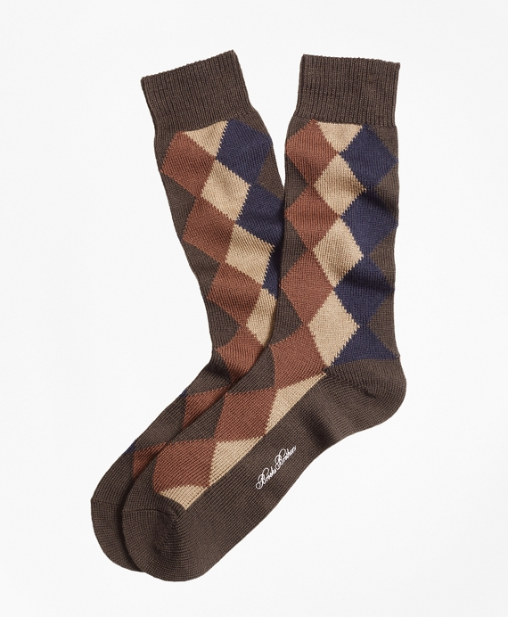 Solid with Argyle Crew Socks Brown